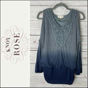 Knox Rose Dip-Dye Cold Shoulder Blouse Size Medium